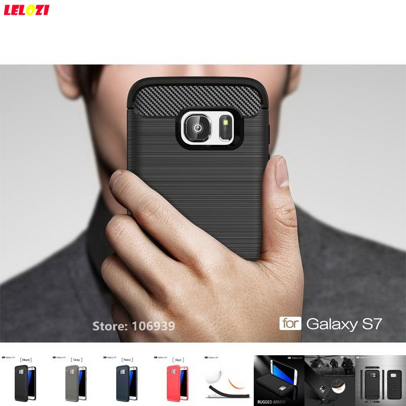 LELOZI Soft TPU Rubber Back Armor Rugged Carbon Fiber Brushed Men Mobil Coque Etui Case Cover For Samsung Galaxy S7 SM G930F S 7