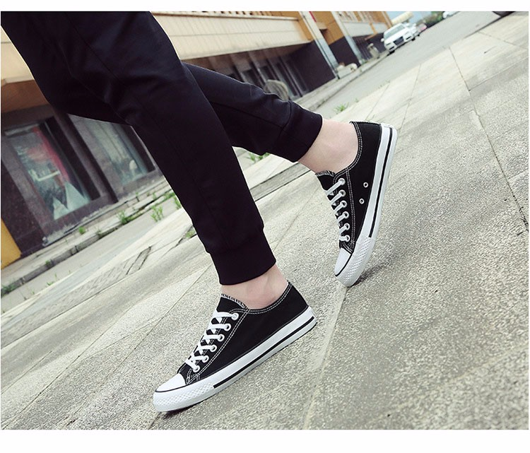 Hellozebra Men Casual Canvas Shoes Classical Lace Up Solid Flats Breathable Board Soft Leather Students Shoes 2016 Autumn New  (24)
