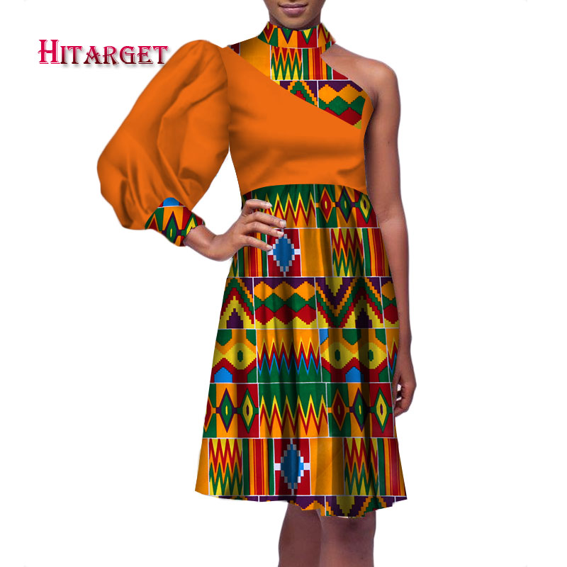 african dresses for women with Sexy one shoulder and one Lantern sleeves Bazin Riche African Women Party wedding Clothing WY3250 in Dresses from Women 39 s Clothing