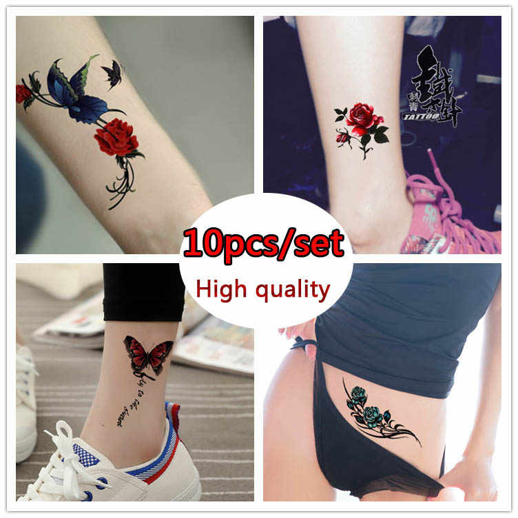 4604fd641 10pcs/set Colorful Butterfly flower Body Art Sexy Waterproof Temporary  Tattoo For Man Woman Flash