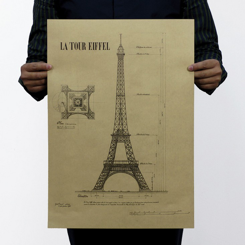 Free shipping,Eiffel Tower B/design Famous building view/kraft paper/bar poster/Retro Poster/decorative painting 51x35.5cm