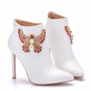 Image 5 - Bottines pour femmes, chaussures à la mode Crystal Queen, chaussures pour équitation de mariage, Sexy à talons hauts, avec fermeture éclair