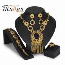 MUKUN fashion african beads jewelry set Gold Color Crystal Wedding Women Bridal Accessories dubai for Wholesale customer