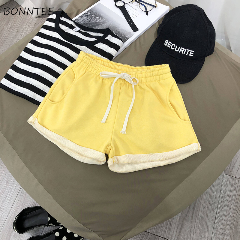 Shorts Women Sports Popular Slim Leisure Daily Breathable Soft Womens Drawstring Elastic Chic Female Pockets Trendy Simple Short