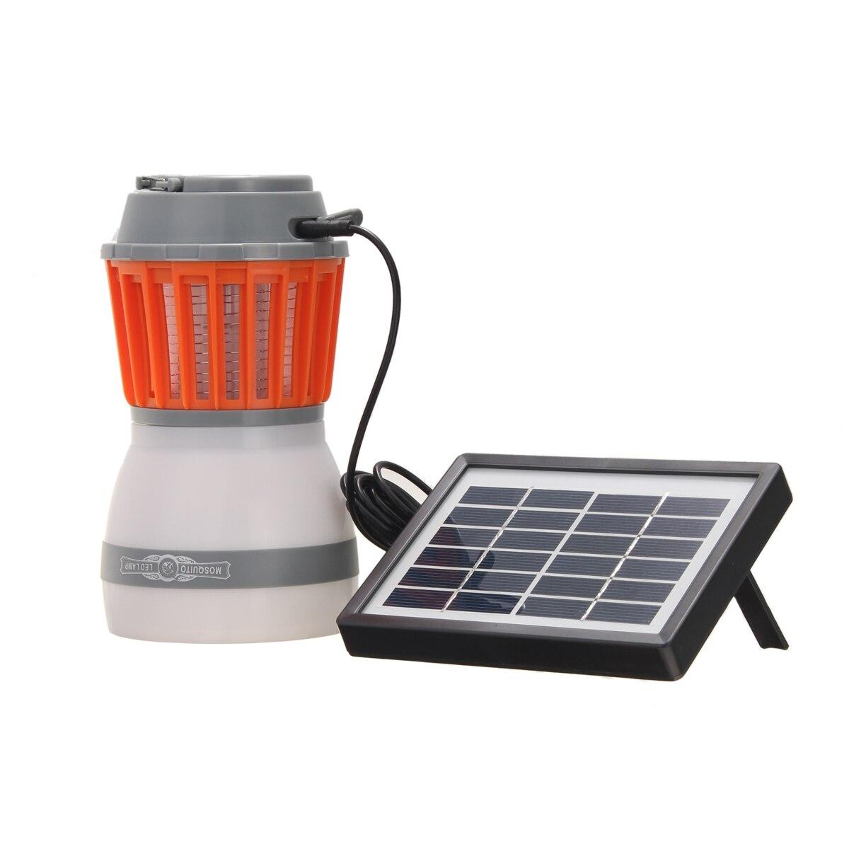2 en 1 DC portátil 5 V lámpara del asesino del Mosquito con el Panel Solar USB carga LED asesino del Mosquito luz que acampa al aire libre