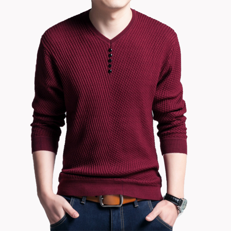 Solid Color Pullover Men V Neck Sweater Men Long Sleeve Shirt Mens Sweaters  Wool Casual Dress Brand Cashmere Knitwear Pull Homme-in Pullovers from Men s  ... 066e94499b1