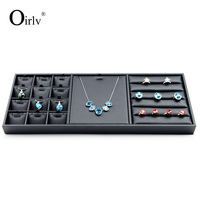 Oirlv Free Shipping Stackable Black Leather Jewellery Presentor Tray For Necklace Pendants And Rings Showcase Trays