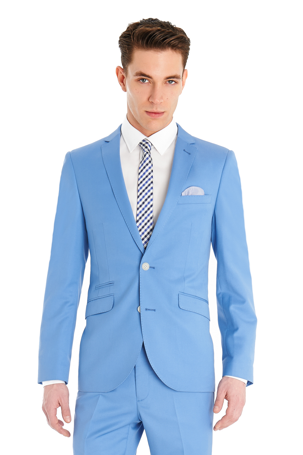 Light Blue Men Suits Slim Custom Fit Fashion Suit Blazer With ...