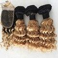 Бразильский 1b/27 ломбер закрытие Вьющиеся волосы утка блондинка пучки с закрытием ombre наращивание волос с закрытием 4 шт.