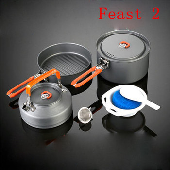 Fire Maple Feast 2 Pots Set For 2-3 Persons Kitchen Pots Set Outdoor Camping Hiking Picnic Cooking Cookware 686g Free Shipping