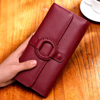 Original design wallet women's three fold buckle new Korean ladies clutch leather handmade DIY weaving wallet
