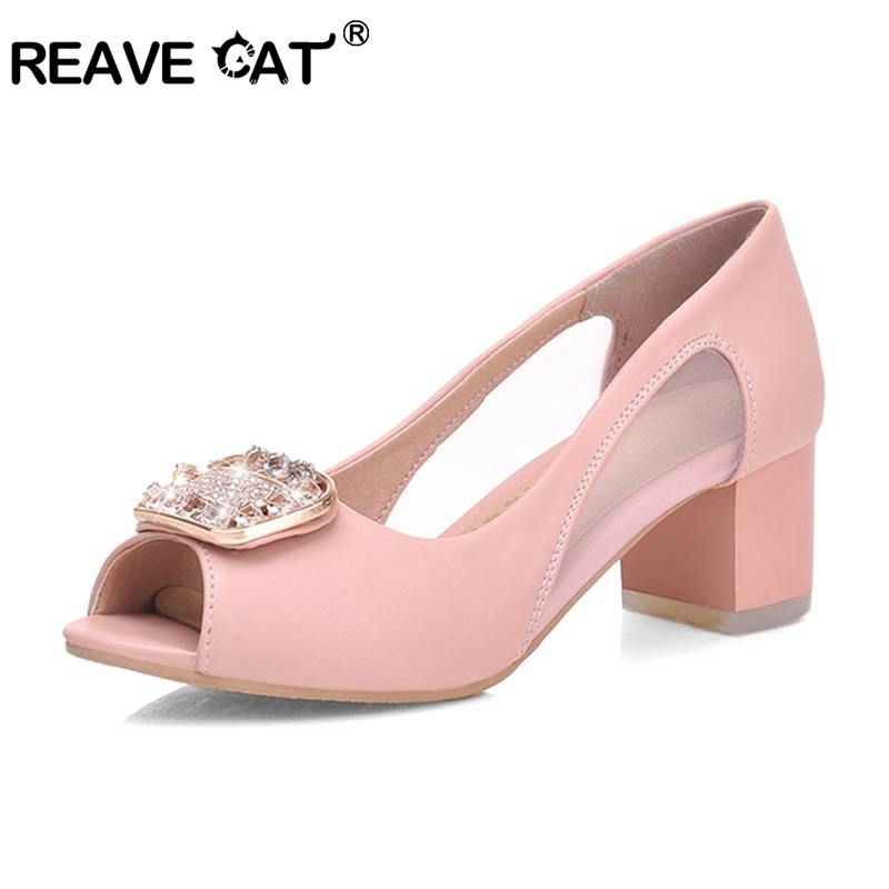 69d704871e7 REAVE CAT Shoes women pumps summer women high heels peep toe office shoes  ladies crystal zapatos de mujer sandalia feminina A365