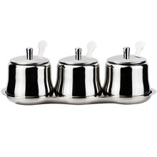 3PCs Exquisite 304 Stainless Steel Spice Box With Tray Spoon Chili Oil Bottle Pepper Herb Sugar Salt Seasoning Storage Jar