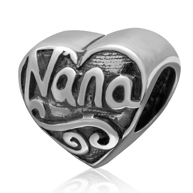 b87d6d6dc Authertic 925 sterling silver jewelry Heart Nana charms special love gift  Fits for pandora bracelets DIY making Retro beads