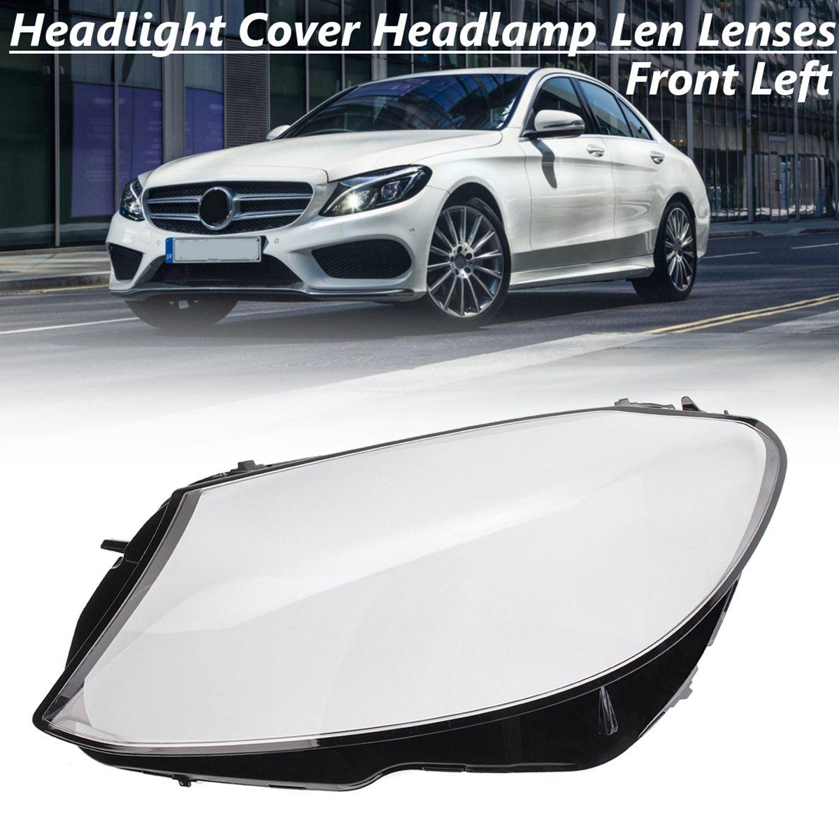 Front Left Headlight Headlamp Len Plastic Lenses Shell Cover For Mercedes/Benz C180 C200 C260L C280 C300 W205 2015 2016 2018 mewant black suede car steering wheel cover for mercedes benz c180 c200 c350 c300 cls 280 300 350 500 glk 300 2008 2010