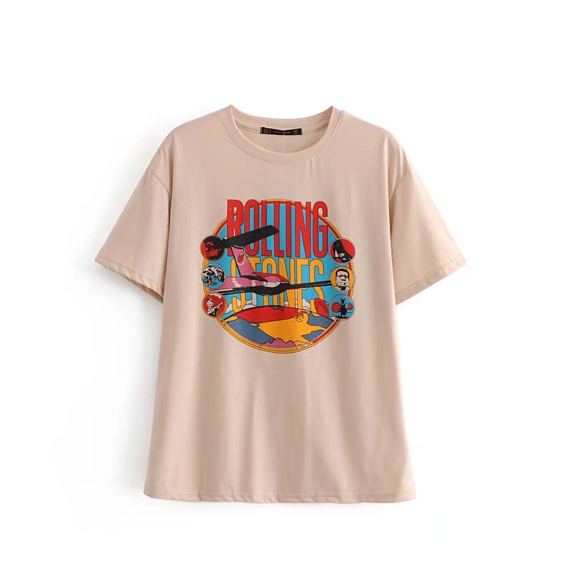 Casual Womens Color Cartoon Vintage Letter Printing Cotton Pink T-shirt 2018 New Fashion Loose  Young Girl Round Neck T-shirt