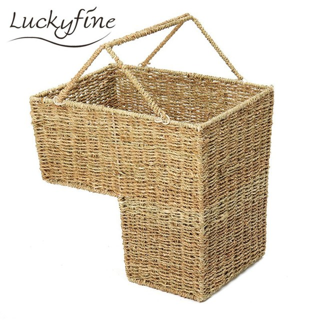 Wicker Weaving Stair Storage Basket Rattan Makeup Stationery Organizer  Magazines Makeup Pen Combination Holder 43x25x40cm