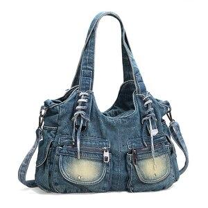Image 2 - Ipineeファッション女性のバッグヴィンテージカジュアルなデニムハンドバッグ女性大容量ジーンズトート織りテープ創造ショルダーメッセンジャーバッグ