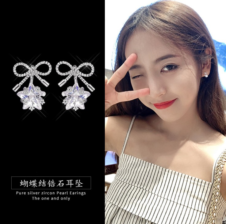 New S925 silver needle bow small earrings crystal from Swarovski versatile small fresh and simple tide earrings For WomanNew S925 silver needle bow small earrings crystal from Swarovski versatile small fresh and simple tide earrings For Woman