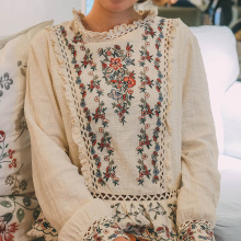 Модная рубашка с вышивкой в тяжелой промышленности, топ mori girl, лето