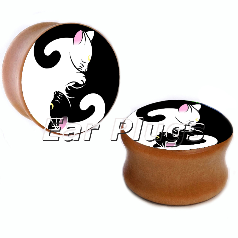 10 sizes cats yin yang saddle plug gauges wood plugs wooden ear gauges flesh tunnel body piercing jewelry WSP0012