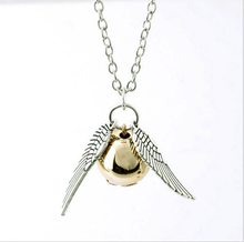 2017 European Hot sale harry potter snitch gold long pendant necklace women silver chain necklace fine collar necklaces(China (Mainland))