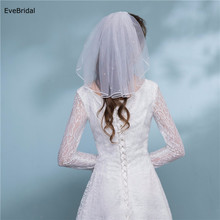 1 Layer white Ivory Pearl Shoulder Length Satin Ribbon Edge Wedding Bridal Veil with Comb
