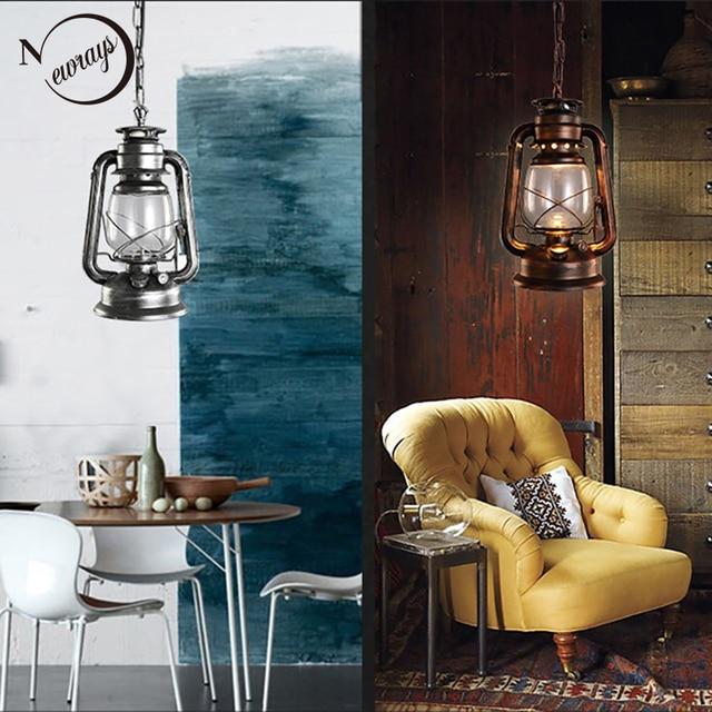 Retro Vintage Lantern Kerosene Pendant Lamp E27 Lights Loft Restaurant Master Bedroom Dining Living Room