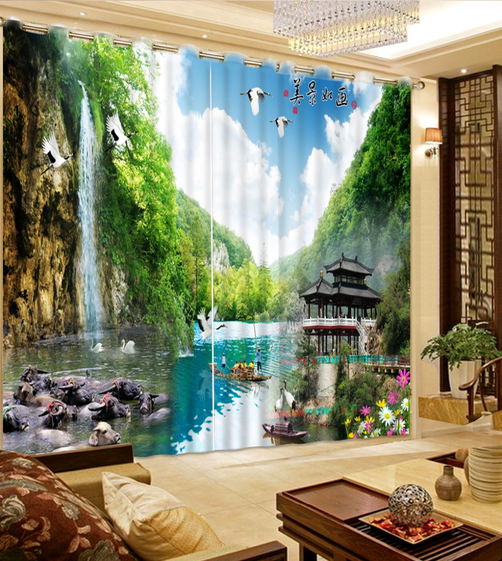 Modern 3D Photo landscape scenery Curtains For Living Room Custom Curtains For Bedroom Curtain FabricModern 3D Photo landscape scenery Curtains For Living Room Custom Curtains For Bedroom Curtain Fabric