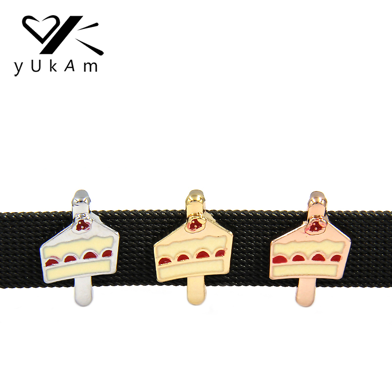 YUKAM Jewelry Birthday Piece of Cake Enamel Slide Charms Keeper for Stainless Steel Mesh Keeper Bracelets DIY Accessories Making