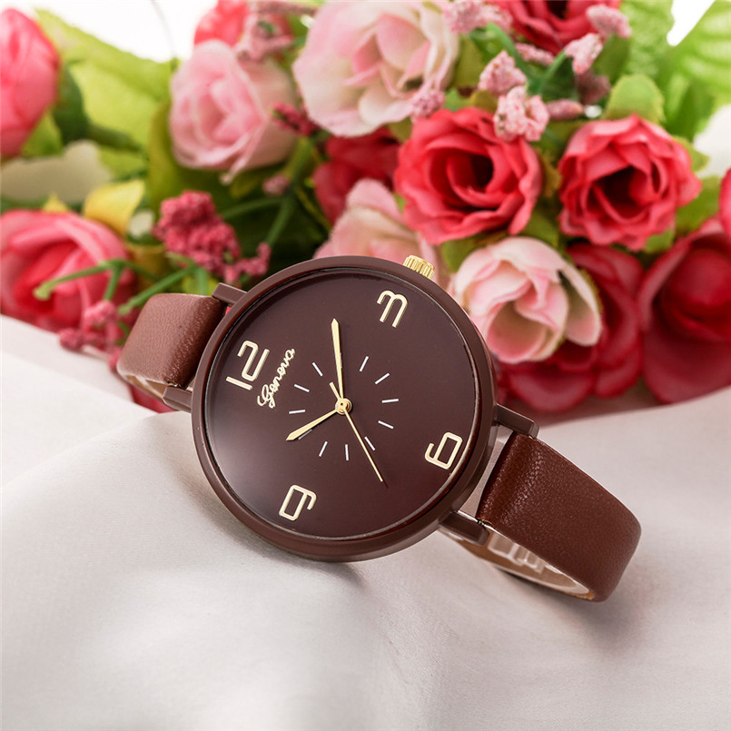 Clock Ladies Classy Dress Gift Watches Women Casual Checkers Faux Leather Quartz Analog Wrist Watch Montre Femme Dropship