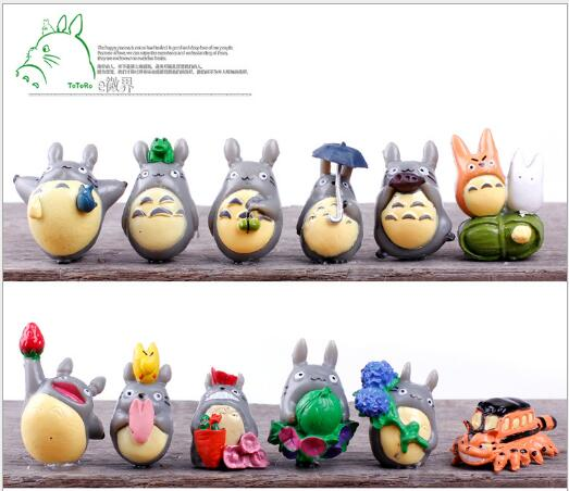 (12pcs/set) My Neighbor Totoro Figure Gifts Doll Resin Miniature Figurines Toys 1-3cm PVC Plactic Japanese Cute Anime Action-036