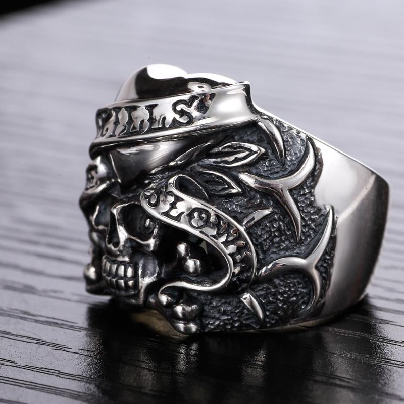 Серебро 925 Череп кольцо серебро мужская Пираты Карибского моря одно кольцо