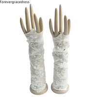 Forevergracedress Fingerless White Ivory Bridal Gloves For Wedding Bride Cheap Lace Applique Accessories ST11