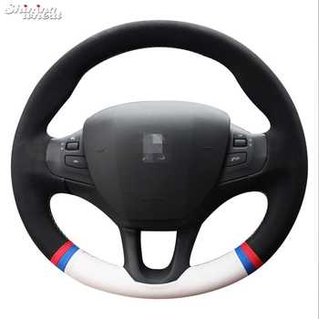 Hand Sew Black Suede White Leather Car Steering Wheel Cover for Peugeot 208 Peugeot 2008