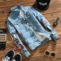 2017 nueva primavera de mezclilla de calidad superior chaquetas de los hombres de hip hop clothing manga larga m-5xl ropa de calle pantalones vaqueros chaquetas envío libre