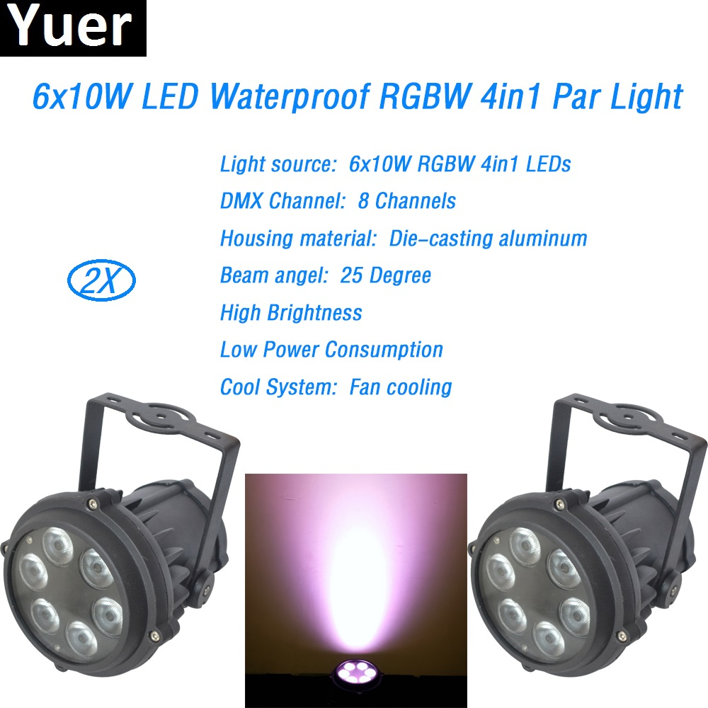 Здесь продается  2Pcs/Lot DMX 6x10W RGBW 4in1 leds Outdoor Par Cans waterproof fan cooling Project Distance 25 Degree Beam LED Display wash light  Свет и освещение