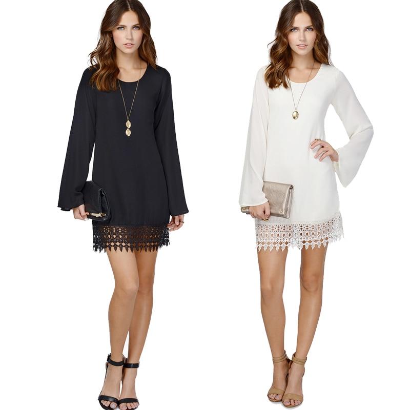 White Black Chiffon Lace Dress With Long Sleeves Women Summer ...