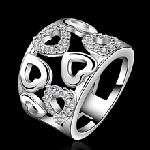R633 Silver wedding rings Jewelry femme wide hollow crystal stone heart ring for women menTop Quality Silver Plated Stamped 925