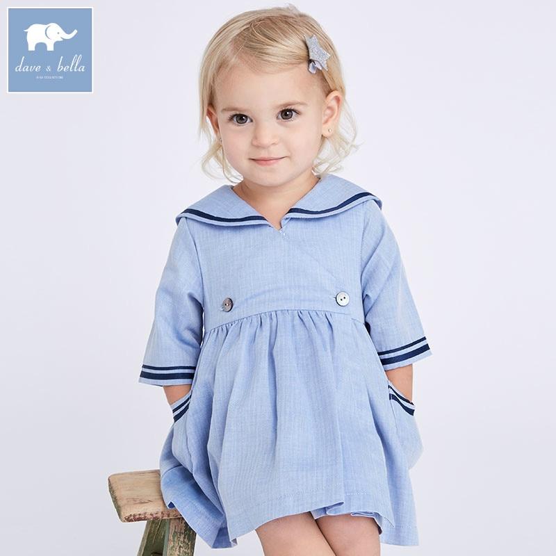 DB7038 dave bella spring infant baby girls fashion dress children light blue dress kids toddler clothes