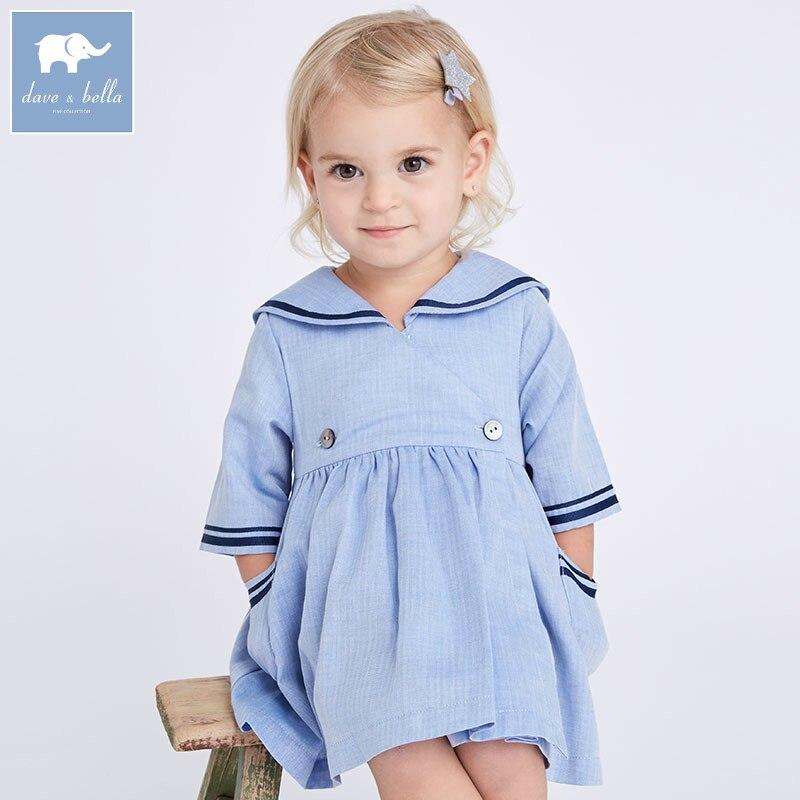 DB7038 dave bella printemps infantile bébé filles mode robe enfants bleu clair robe enfants bambin vêtements