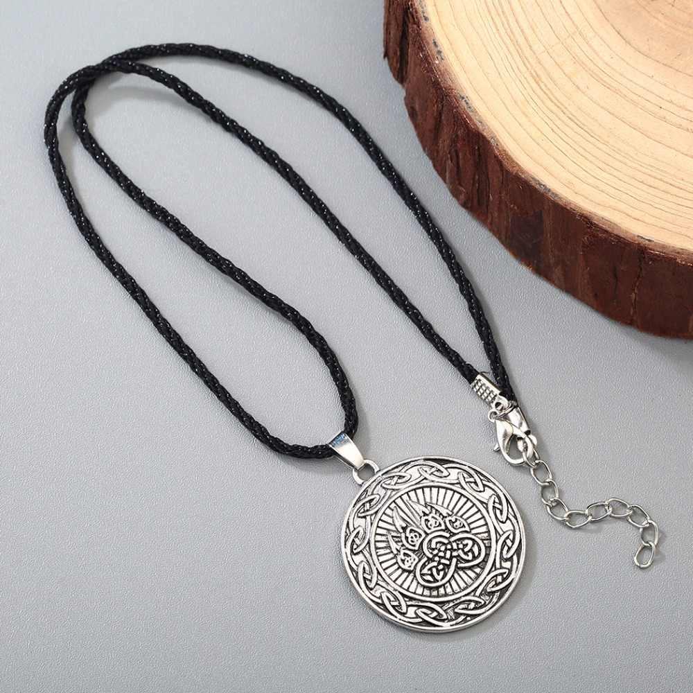 CHENGXUN w stylu Vintage nieskończona węzeł wisiorek mężczyźni Nordic niedźwiedź druku Amulet naszyjnik mężczyzna Viking słowiański Symbol talizman biżuteria