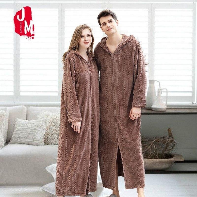Men Zipper Thick Warm Long Flannel Bathrobe Plus Size Hooded Kimono Bath Robe Winter Peignoir Dressing Gown Bridesmaid Robes