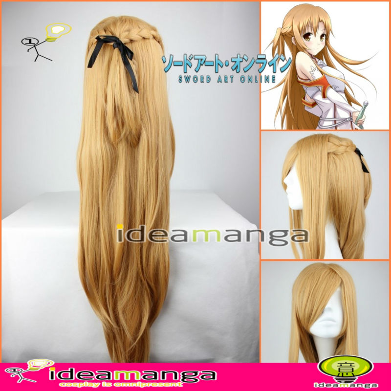 manga Sword Art Online SAO ALO Yuuki Asuna boy s Cosplay Wig hair  High-temperature Resistance Fibers halloween Christmas Party a5c26fd72377