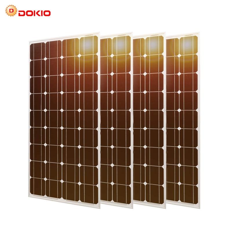 Dokio 100w Monocrystalline Tempered Glass Solar Panel For Home Waterproof Anti small Hail 25 Year Shelf