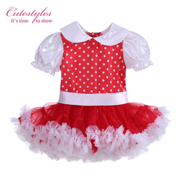 Cutestyles Girls White And Red Polka Dots Dresses Turn Down Collar