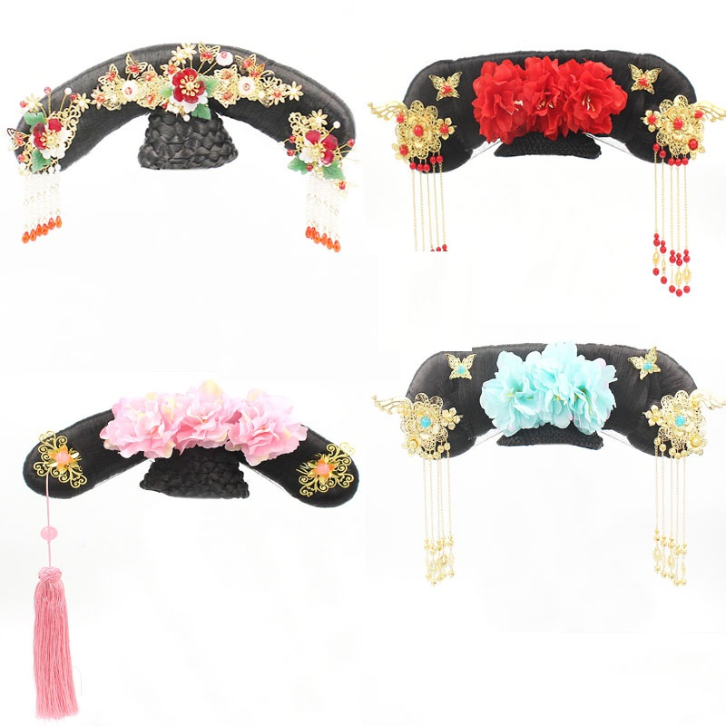 53 Designs Multicolor Hair Tiara Qing Dynasty Palace Maid Or Pricess Qitou Hair Wig And Accessories Hanfu Accessory