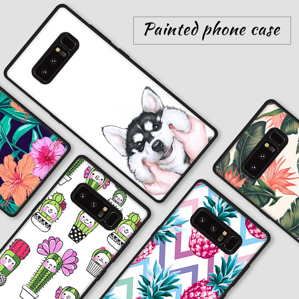 Motif étui pour Samsung Galaxy S9 S8 Plus S7 S6 Edge Note 9 8 chat Art feuille couverture d'impression pour Samsung S9 S8 Plus Note8 S9 Shell