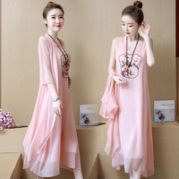 2 Pcs Chinese Traditional Women Dress Embroidery Style Maternity Dresses Summer Cotten Maternity Clothes For Pregnant Woman Z781
