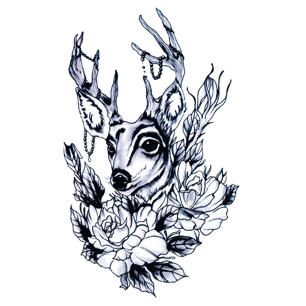 Nail Art Hitam Putih: Yeeech Sementara Tato Sticker Wateproof Wanita Elk
